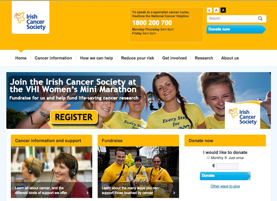 Irish Cancer Society website screenshot