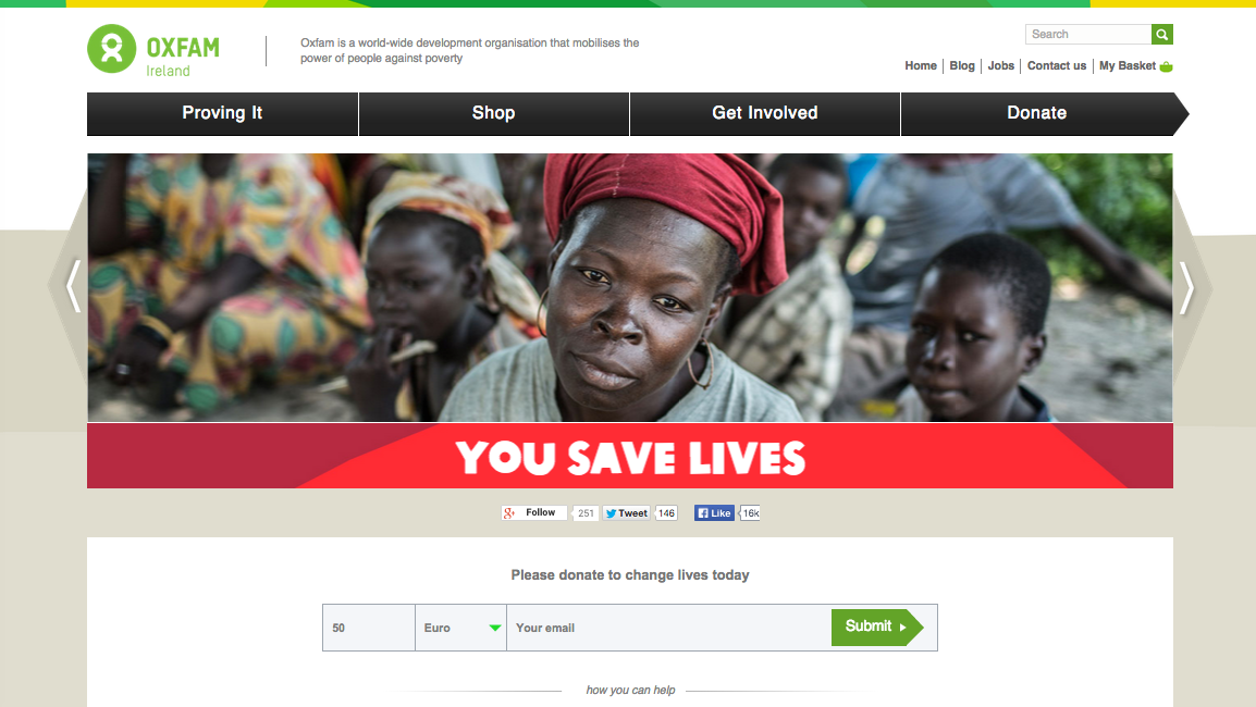 Oxfam Ireland website screenshot