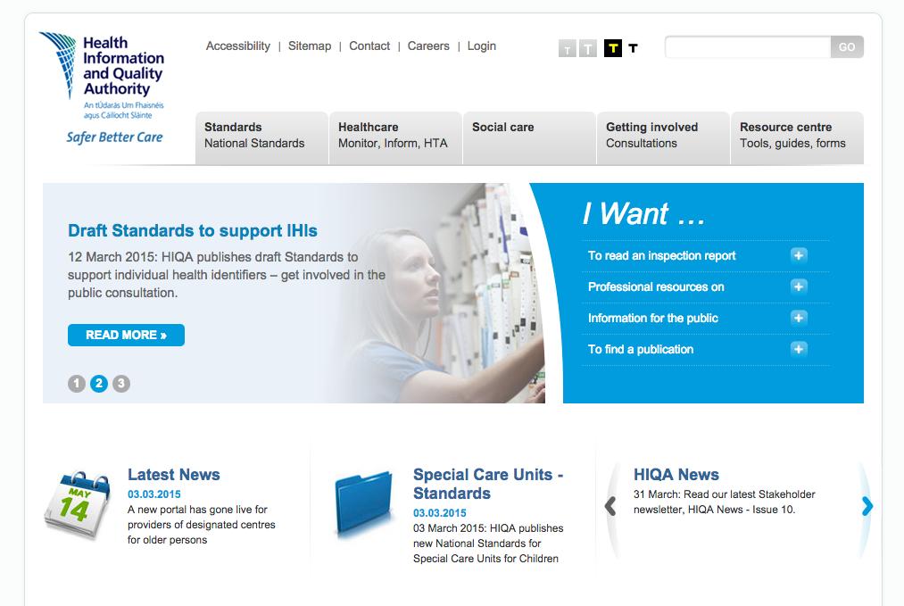 Health Information Quality Authority (HIQA) website screenshot